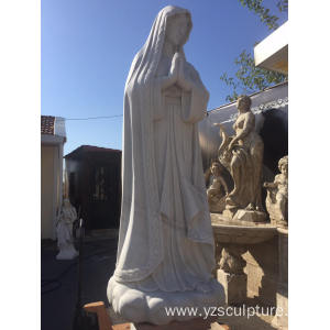 Large Size White Marble Religious Virgin Mary Sculpture